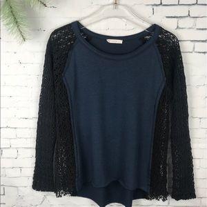 f925e8074e38e ... LUSH Navy Black Baseball Tee Crochet Lace Sleeves ...